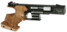 Semiautomatic pistol with electronic trigger mechanism for standard pistol discipline cal.22Lr. Fleeting mass locking system, prismatic 5 shot capacity magazine. Bolt in special steel. Trigger mechanism and sights are adjustable and changeable. Anatomical grip, in walnut, available in various adjustable sizes. Suitable for all marksmen, thanks to its versatile adjustable trigger mechanism and multi-function counterweight system with 6 weights.