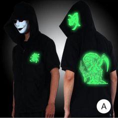 Mens short sleeve hoodie Shuffle skull glow in the dark sweatshirts black