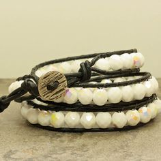 Black Leather Wrap Bracelet with Chalk White AB Crystals