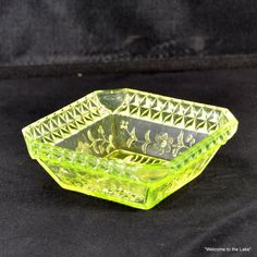 VASELINE GLASS - Square Candy Dish, early 20th Century