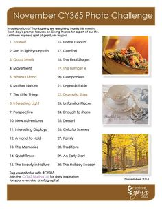 November CY365 Photo Challenge List 2014  This would have been fun. Too bad I found it too late in the month.