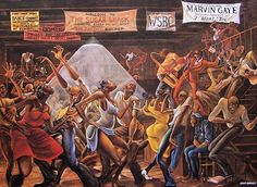 """Album cover painting is called """"Sugar Shack"""" by Ernie Barnes, also was used in the TV show """"Good Times"""". Description from pinterest.com. I searched for this on bing.com/images"""