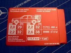 "Mercedes Sticker ""Tire Pressure"" inside Tank Hatch W201 190E Vintage! NOS! | Automotive, Parts & Accessories, Car & Truck Parts | eBay!"