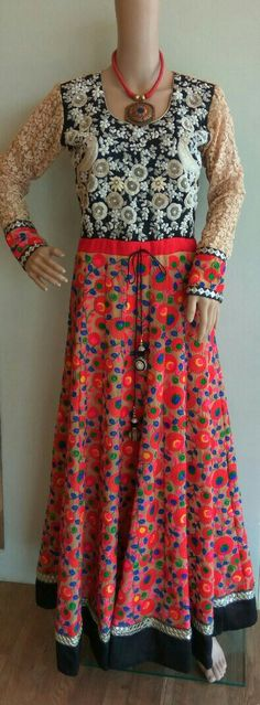 Floor length anarkali in machine embroidery and hand embroidery.