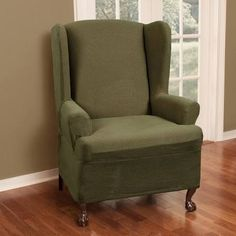 Maytex Stretch Reeves Wing Chair Slipcover, Dark sage Elastic corners for a better fit Also fits T-cushions Short skirt Installation instructions included Furniture, Recliner Slipcover, Home, Slipcovers For Chairs, Chair, Chair Fabric, Furniture Covers, Chair Cover, Wing Chair