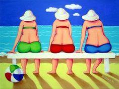 Funny Beach Women Seashore 9x12 Glicee Print Ocean door korpita