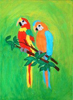 Papagaaien Canvas 18 bij 24