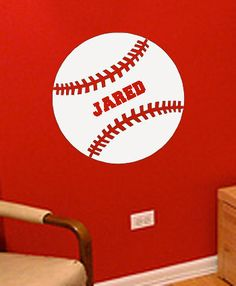 Pesonalized Baseball Vinyl Wall Art by designstudiosigns on Etsy, $29.50 use coupon code FALLISHERE for 10% off entire order!