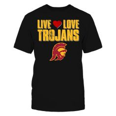 Live Love USC Trojans T-Shirt, Officially Licensed Exclusive Design Show your love for the USC Trojans with this fun Live Love Trojans design. Makes a great gift for fans of the University of Southern California Trojans! Not Available in Stores!  The USC Trojans Collection, OFFICIAL MERCHANDISE  Available Products:          District Men's Premium T-Shirt - $27.95 District Women's Premium T-Shirt - $29.95 Next Level Women's Premium Racerback Tank - $29.95 Pack of 4 stickers - $10.00…
