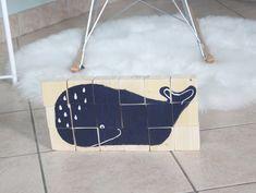 Puzzle in legno formato da 18 cubi: la balena blu è il disegno completo di IlluminoHomeIdeas su Etsy