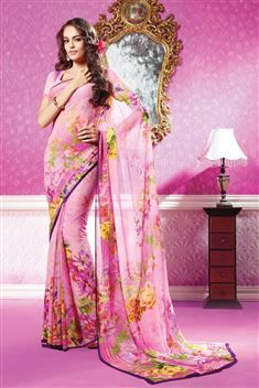 Pink Georgette Digital Printed Saree