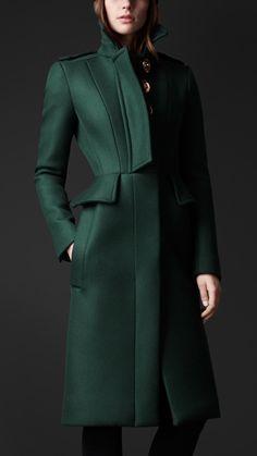 Burberry Porsum Wool Twill Peplum Coat