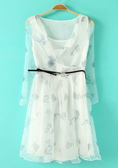 White Floral Tiered Belt Nine's Sleeve Chiffon Dress