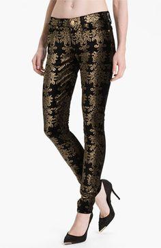 7 For All Mankind® 'The Skinny' Foil Print Jeans (Black/Gold Foil) | Nordstrom
