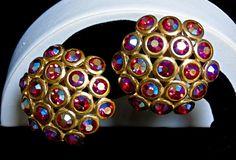 Vintage Gene Verri for GemCraft Craft Gilt Gold AB Siam Red Rhinestone Earrings #CraftGemCraftGemCraft #VintageGemCraftRhinestoneEarrings