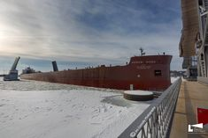 Mesabi Miner coming into the Sturgeon Bay Shipping Canal January Photo by Jim Connolly Photography. Great Lakes Ships, Sturgeon Bay, January 2018, Abandoned Places, Climbing, Boats, Michigan, Sailing, To Go