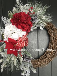 Snowy winter Hydrangea Grapevine Wreath