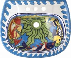 A #handpainted #talaverasink looks really #pretty in a #kitchen or a #bathroom. #myRustica #sink is a #rustic #piece of #art and not just a carbon copy of each other. #RusticaHouse brand #mexicansinks are made from #quality #ceramic material.
