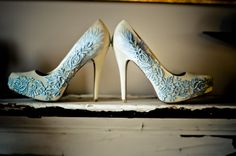 Something Blue Ivory and Lace Feather Velvet Bridal Pumps.