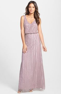 Free shipping and returns on Adrianna Papell Beaded Mesh Blouson Gown at Nordstrom.com. Art Nouveau-inspired beadworks casts midnight glitter over an elegant full-length gown pairing a V-neck blouson bodice with a gently flared, floor-grazing skirt.