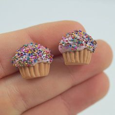 Cupcakes earrings with sprinkles mini muffins muffins