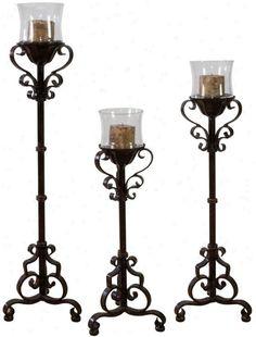 Rosita Candleholders (3) Baroque Furniture, Metal Furniture, Living Room Furniture, Living Rooms, Floor Candle Holders, Wrought Iron Candle Holders, Tuscany Decor, Iron Wall Decor, Wall Lights