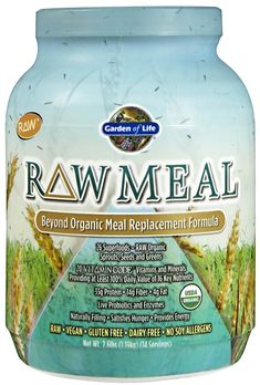 Garden of Life Raw Meal! 34grams protein 10 grams of fiber --probiotics and enzymes all daily vitamins and nutriets spouts seeds chorella spirilina