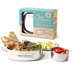 This 2-piece lunch set includes a large oval container plus a smaller cup that's ideal for sauces, dips or other wet foods. Go back to school with our ECOlunchbox Oval, a durable, reusable, toxin-free, lunch container set for your lunches. Large oval lunchbox measures 6 1/2 inches long by 5 inches wide and 2 inches tall fitting 3 cups of food and the small cup fits 3/4 cups of food!