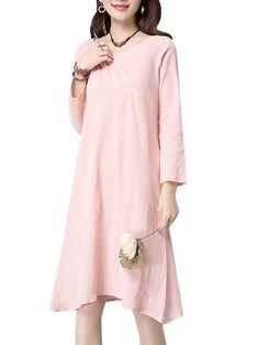 Pure Color Elegant Flowy Long Sleeve Women Dress - Gchoic.com