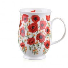 Dunoon Mugs - Suffolk Shape - Red Poppies Vintage Coffee Cups, Unique Coffee Mugs, China Cups And Saucers, Teapots And Cups, Porcelain Mugs, Ceramic Cups, Mugs And Jugs, Painted Coffee Mugs, Flower Artwork