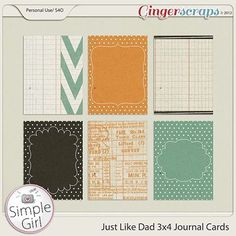 Free Journal Cards by Simple Girl Scraps for GingerScraps {on Facebook}