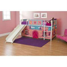 Girls Princess Bed Twin Beds With Slides Girl Bed Set Bedroom Furniture Castle #GirlBedSet