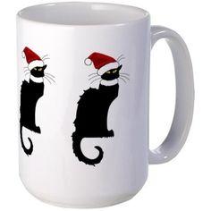 Christmas Le Chat Noir With Santa Hat Large Mug #Carepress #SpoofingTheArts #gravityx9 designs #lechatnoir