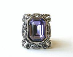 Tanzanite Statement Ring Swarovski Gothic Ring by LeBoudoirNoir