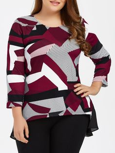 Plus Size Abstract Print High Low T-Shirt