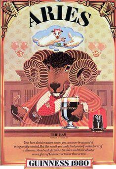 Arte Aries, Aries Art, Zodiac Art, Aries Zodiac, Zodiac Signs, Aquarius, Vintage Signs, Vintage Posters, Chinese Zodiac Rat