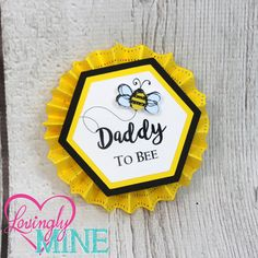 Name Tags/Corsages - Bumble Bee Yellow, Black & White Baby Shower Cardstock Corsages - Gender Reveal Pins - Mommy To Bee, Daddy To Bee by LovinglyMine on Etsy https://www.etsy.com/listing/469955375/name-tagscorsages-bumble-bee-yellow