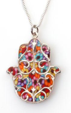 Adina Plastelina Hamsa Amulet Necklace with Millefiori Pattern and Chain Fashion Details, Timeless Fashion, Hamsa Necklace, Hamsa Jewelry, Pendant Necklace, Fairytale Fashion, Jewish Jewelry, Tatoo, Fatima Hand