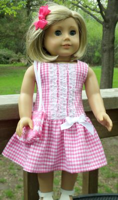 American+Girl+Doll+Clothes+Pink+Gingham+by+buttonandbowboutique,+$24.00