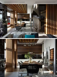This modern dining room has a wood dining table and ceiling feature. A built-in bench sits against the wall and at the end of the dining room is the kitchen. #ModernDiningRoom #InteriorDesign