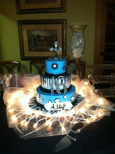 Abby's Sweet 16 Birthday Cake! I always stock up on white lights at Christmas they come in handy for decorating during the year.