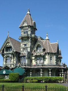 Carson Mansion - Eureka, California / Victorian Architecture; elaborate bow windows, towers, gingerbread trim, wrap around porches, odd shapes and unusual roof line.