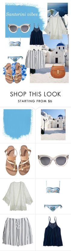 """Beach look"" by inartistique ❤ liked on Polyvore featuring GAS Jeans, Ancient Greek Sandals, CÉLINE, Calypso St. Barth, Dolce&Gabbana, WithChic, Aéropostale and Chloé"