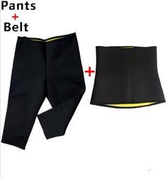 Hot shapers neopreen vrouwen zweet afslanken set body shaper broek met tummy riem fitness underwear taille trainer corset shapewear