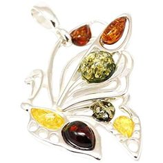 The Olivia Collection TOC Sterling Silver Large Butterfly Amber Pendant On 18 Inch Chain Largest Butterfly, Amber, 18th, Sterling Silver, Chain, Pendant, Gifts, Stuff To Buy, Presents