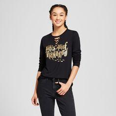 "Women's Harry Potter® ""Mischief Managed"" Long Sleeve Graphic T-Shirt (Juniors') - Black"