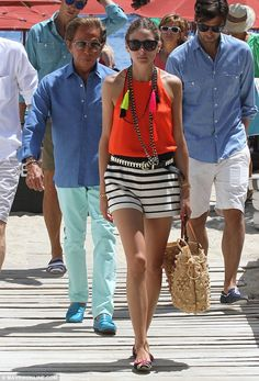 Holidaying in style: Olivia Palermo was joined by Valentino and and boyfriend Johannes Huebl as they explored the Greek island of Mykonos on Thursday