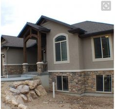 Look at CF Olsen Homes gallery today for Pictures of previous work. Stucco House Colors, Exterior Paint Colors For House, Paint Colors For Home, Stucco And Stone Exterior, Stucco Homes, Exterior Color Schemes, Home Exterior Makeover, House Trim, New House Plans
