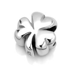 925 Sterling Silver Shamrock Clover Leaf Bead Charm Fits Pandora Bracelet