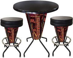 Minnesota Golden Gophers D1 Black Lighted Pub Table Set. Two additional Stools are optional. Visit SportsFansPlus.com for details.